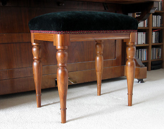 & Upholstered piano stool with turned legs in English walnut islam-shia.org